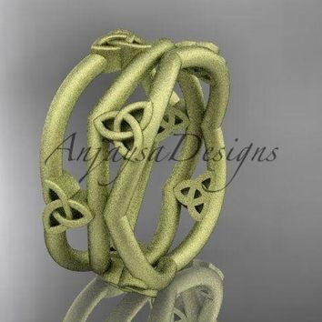 14kt yellow gold celtic knot wedding band, matte finish engagement ring CT7350G