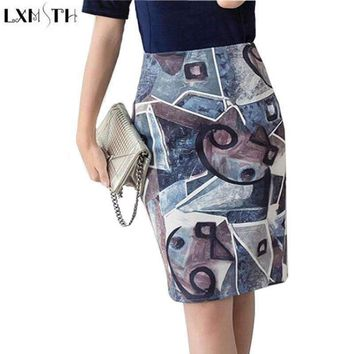 Lxmsth Printed Skirt Midi High Waisted Suede Skirt Plus Size Ladies Pencil Skirts