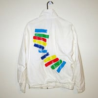 Vintage 80's White Rainbow Style WINDBREAKER Jacket - Size MEDIUM