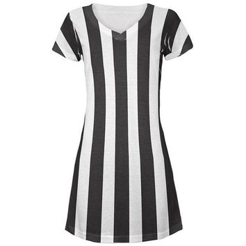 ONETOW Halloween Referee Costume All Over Juniors Beach Cover-Up Dress
