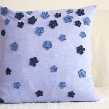 Blue Pillow Cover, 16 x 16 Accent Pillow, Floral Throw Pillow, Navy Pillow Cover, Denim Blue Home Decor, Ombre Pillow, Crochet Flowers