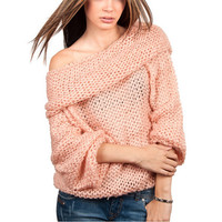 Pink Off The Shoulder Loose Sweater