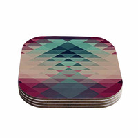 "Nika Martinez ""Hipster"" Maroon Teal Coasters (Set of 4)"