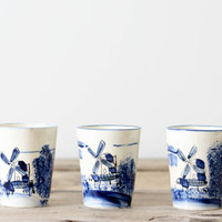 Blue Windmill China Cups, Set of 3 Made in Japan