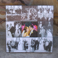 """Personalized Wedding Picture Frame, Thank You Gift For Parents,  Mother of the Bride Gift,  Wedding Photo Collage, 12"""" X 12"""""""