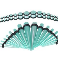 BodyJ4You Gauges Kit 18 Pairs Metallic Aqua Acrylic Tapers & Plugs 14G 12G 10G 8G 6G 4G 2G 0G 00G 36 Pieces