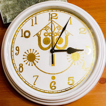 It's A Small World Inspired Foiled Wall Clock