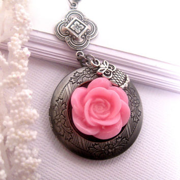 Pink Rose Owl Locket Necklace