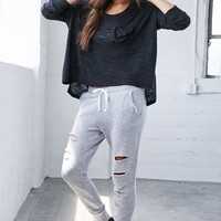 Nollie Destructed Jogger Pants - Womens Pants - Grey