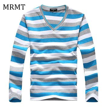 Brand New Clothing Men's V-neck Striped Sweater Pullover Men Long Sleeve Multi color Knitted Sweaters Male Cotton Shirts Knit