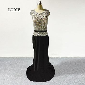 Luxury Long Evening Dress Beading Cap Sleeve New Arrival Crystal Beaded Mermaid Black Prom Dresses Party Gowns Abendkleider