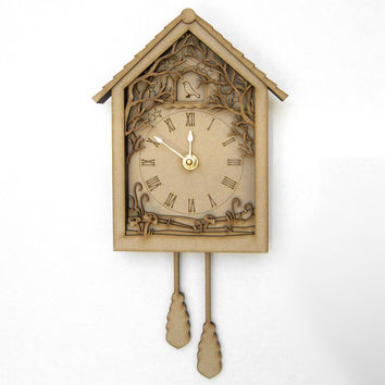 Shadow Box Cuckoo Clock - Laser Cut Wood Forest Night Scenery Small