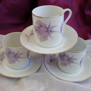 Vintage Purple Rose Demitasse Cup Saucer  3 sets included (plus one extra saucer) Good