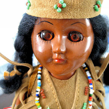 Native American Doll 11 inches tall with sleepy eyes by 925studio
