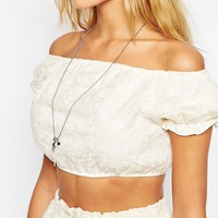 ASOS Premium Bardot Crop Top with Embroidery CO ORD