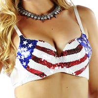 USA Flag Patriotic Bra Top