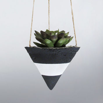 Air Planter, Hanging Planter, Succulent Planter, Concrete Planter, Geometric Planter, Black Planter, Modern Planter, Succulent Pot, White