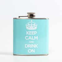 Liquid Courage: Keep Calm Flask Blue, at 25% off!