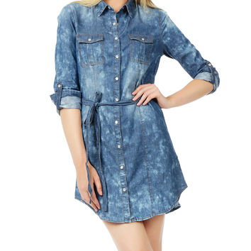 LE3NO Womens Classic Long Sleeve Button Down Chambray Denim Dress