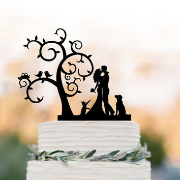 Bride and groom Wedding Cake topper dog and cat,  Tree wedding cake topper with birds,  silhouette cake topper with cat , rustic cake topper