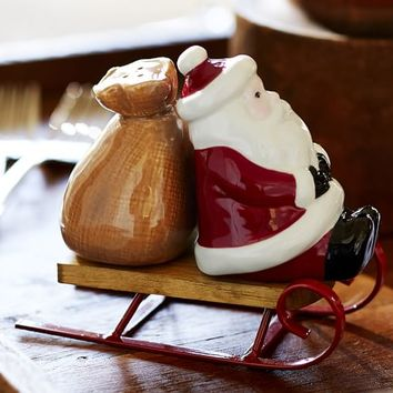 Santa Sled Salt & Pepper Shaker Set