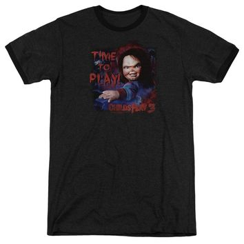 Childs Play Ringer T-Shirt Chucky Time To Play Black Tee