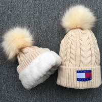 Winter The New Tommy Hilfiger Soft knitted Beanies Hat Cap With Velvet