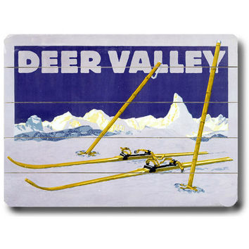 Personalized Deer Valley Skiing Wood Sign