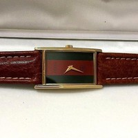 GUCCI 18K YGP RECTANGLE / CURVED MEN'S SWISS PREOWNED WATCH