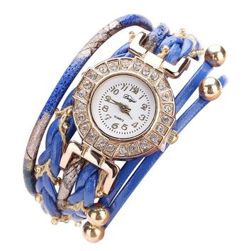 Duoya Hot Sale Women Leather Band Analog Quartz Watch Beads Decor Ladies Rhinestone Bracelet Watch Female relogio feminino