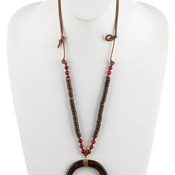 Crescent Horn Wooden Bead Adjustable  Necklace