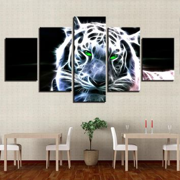 HD Print 5 Pieces Abstract Animal Tiger Leopard Canvas Panel Wall Art