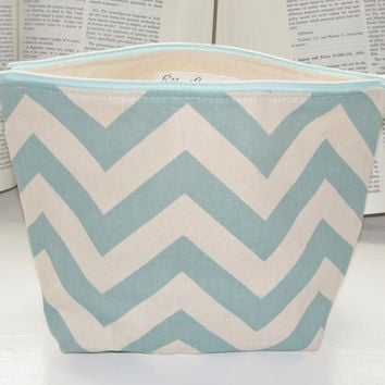 Medium Wide Zipper Pouch, Handmade with Blue & Natural Chevron Duck Cloth, Perfect for cosmetics, knitting, toiletries, makeup, traveling