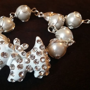 Scottie Dog Pearly Silver Bracelet Westie West Highland Terrier Faux White Pearls Heart Clasp Adjustable  White Puppy Crystal Diamante Doggy