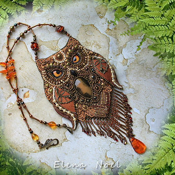 RESERVED! Fabulous owl - beaded necklace. Necklace Bead Embroidery Art