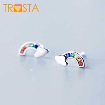 Trusta 100% 925 Solid Real Sterling Silver Jewelry 5mmX12mm Rainbow with CZ Stud Earring For Teen Girl Friend Kid Lady XY1029