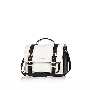River Island Womens White and black large satchel bag