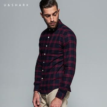 High Quality Long Sleeve Red Flannel Plaid Shirt Men Blouse Urban Clothes Casual Flannel Check Shirt Male