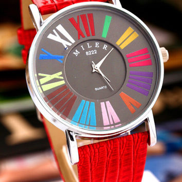 Womens PU Leather Strap Watch + Gift Box-07