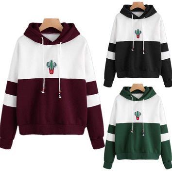 New Brand Fashion Women Winter Warm Longsleeve  Pullover Casual Cotton Print Plant Hooded Shirt  Tops