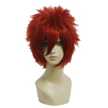Short Red Punk Wig  Straight Synthetic Cosplay Wig High Temperature Fiber Hair