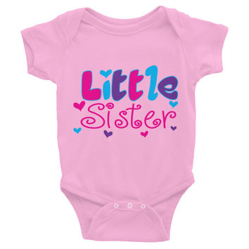 LITTLE SISTER Infant short sleeve one-piece - Additional Color Choices