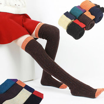 Brand Hot SALE 2014 NEW autumn winter women knee socks thigh high socks stockings wool contrast color thick warm slim