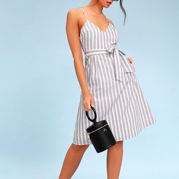 Nelson Black and White Striped Midi Dress