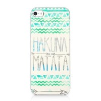 Hakuna Matata with Green Aztec Tribal Printing Case Hard Cover for Iphone 5 5s