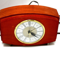 1960s SESSIONS Electric Clock.  Wood Vintage Sessions Clock with Beveled Glass.