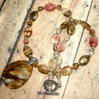 Volcanic Tigerskin Pendant and Tigerskin Cherry Quartz 18inch Necklace
