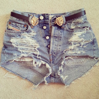 Extremes ANY SIZE Vintage High Waisted Denim Shorts by Diannikco