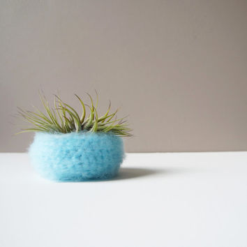 Spun Sugar Air Plant Bowl in Aqua Blue / Airplant Pot / Desk Organization / Woven Blue Pod / Fluffy Yarn Bowl / Crochet Basket