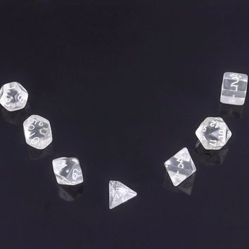 7pcs White Transparent Polyhedral Dices With Cloth Bag For Gaming Dungeons and Dragons RPG Game Funny Party Bar Games Tool Dices